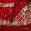 Maroon Red Pure Georgette Bhuj Bandhej Banarasi Saree With Mirror Border Details - shoonya banaras