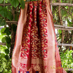 Maroon Red Meenakari Banarasi Silk Dupatta With Zari Border - shoonya banaras