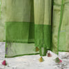 Lime Green Pure Cotton Silk Banarasi Dupatta With Handmade Tassels - shoonya banaras