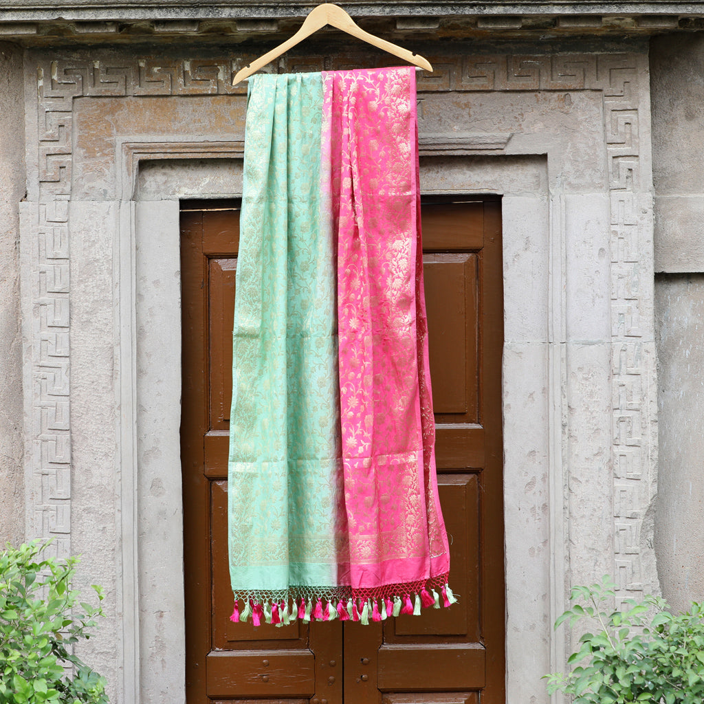 Color Block Banarasi Dupatta In Strawberry Pink & Sea Green Color - shoonya banaras