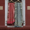 Pastel Pink & Grey Banarasi Silk Suit Dress Material Set - shoonya banaras
