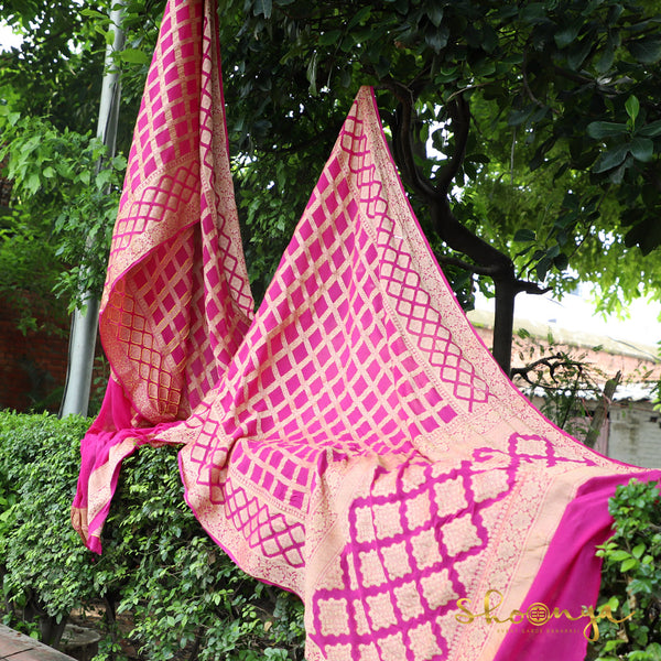 Hot Pink Pure Georgette Banarasi Saree In Chowkdi Weaves - shoonya banaras