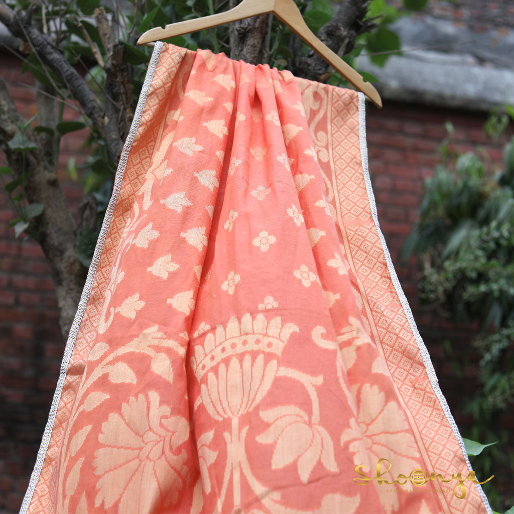 Peach Color Pure Spun Cotton Banarasi Dupatta With Border Work - shoonya banaras
