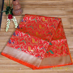 Vermillion Orange Meenakari Bird Shikaargah Banarasi Silk Saree - shoonya banaras
