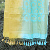 Color Block Banarasi Dupatta In Corn Yellow & Baby Blue Color - shoonya banaras