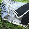 Black Banarasi Silk Dupatta In Silver Zari With Triangular Border Details - shoonya banaras