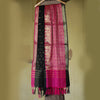 Color Block in Black & Hot Pink Banarasi Silk Dupatta - shoonya banaras
