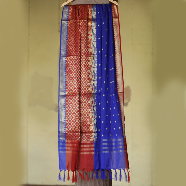 Color Block in Blue & Maroon Red Banarasi Dupatta - shoonya banaras