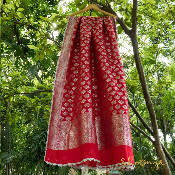 Absolute Red Banarasi Silk Dupatta With Border Work - shoonya banaras