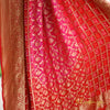 Two-Tone Red & Hot Pink Pure Georgette Bandhej Banarasi Dupatta With Dual Weaves - shoonya banaras