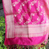 Color Block Banarasi Silk Dupatta in Powder & Fuschia Pink - shoonya banaras