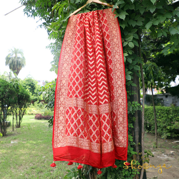 Happy Red Pure Georgette Bandhej Banarasi Dupatta With Handmade Tassels - shoonya banaras