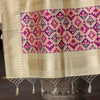 Ivory Banarasi Patola Silk Dupatta With Temple Border - shoonya banaras