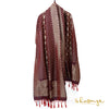 Deep Purple Heavy Banarasi Silk Dupatta In Dual Zari Weaves