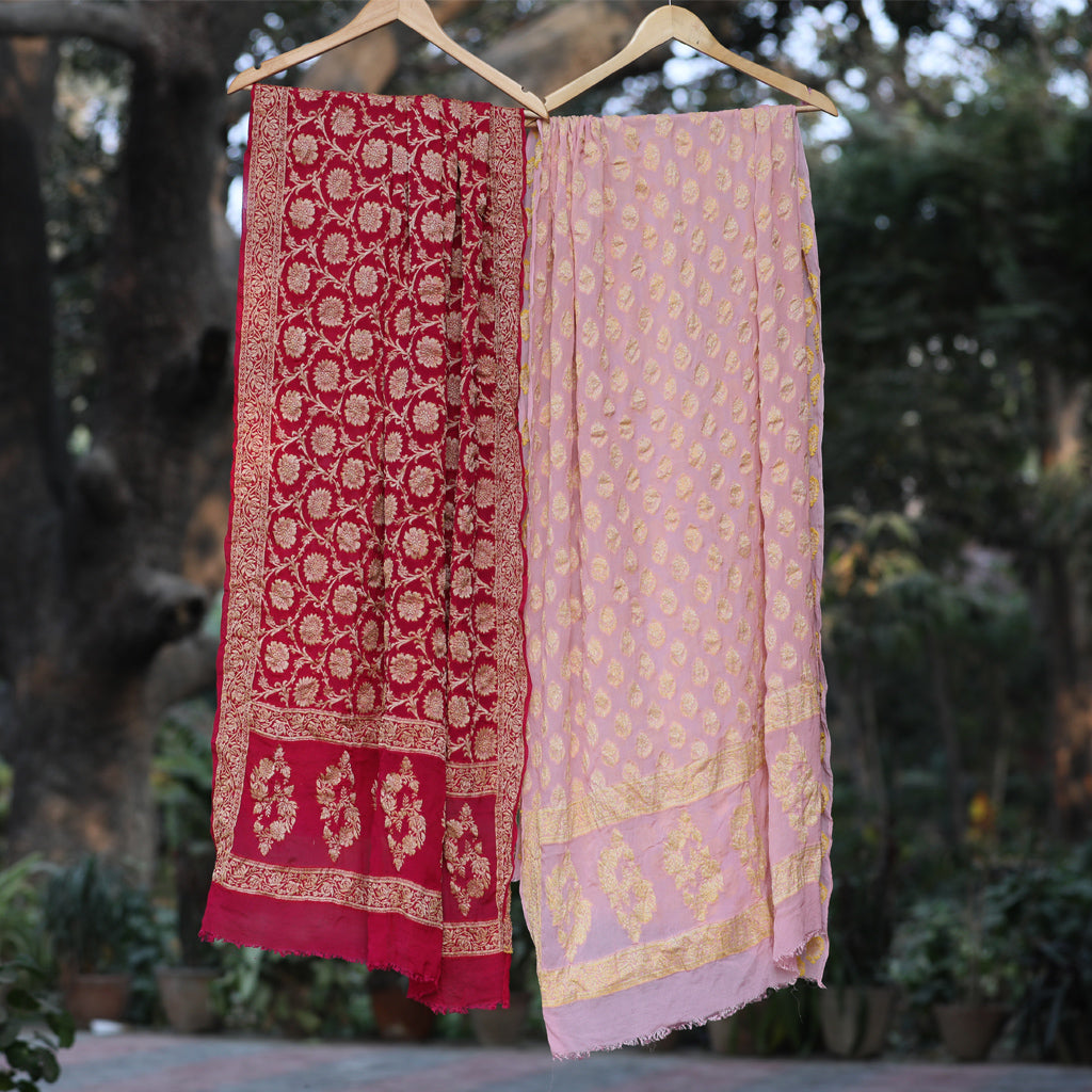 Powder Pink & Magenta Pink Pure Banarasi Georgette Dress Material - shoonya banaras