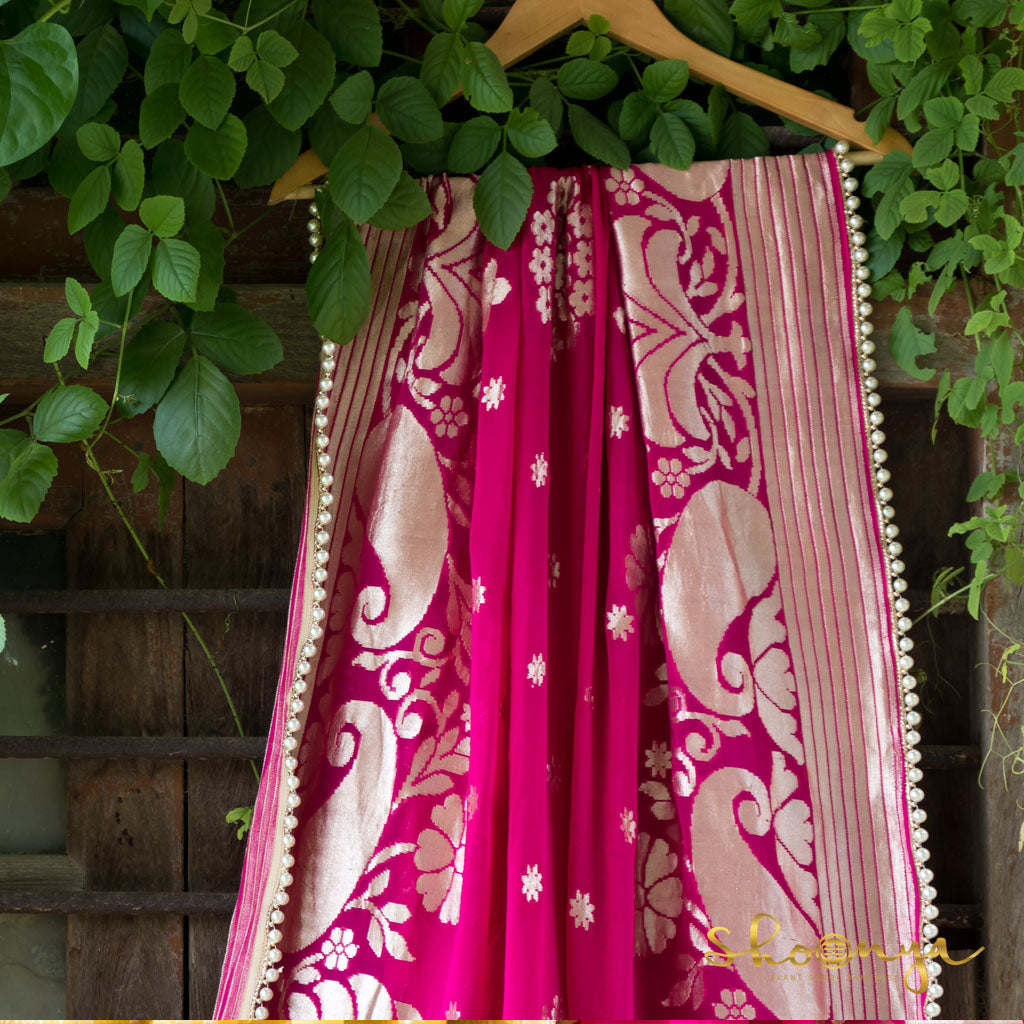 Hot Pink Pure Georgette Handloom Banarasi Dupatta With Pearl Border - shoonya banaras