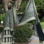 Two-Tone Black & Ash Grey Pure Georgette Bhuj Bandhej Banarasi Saree in Tic Tac Toe Weaves - shoonya banaras