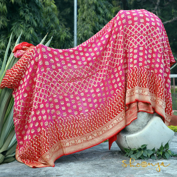 Pink and Red Bandhej Georgette Banarasi Saree