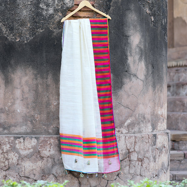 Off-White Pure Matka Silk Banarasi Dupatta With Tri-Colour Border - shoonya banaras