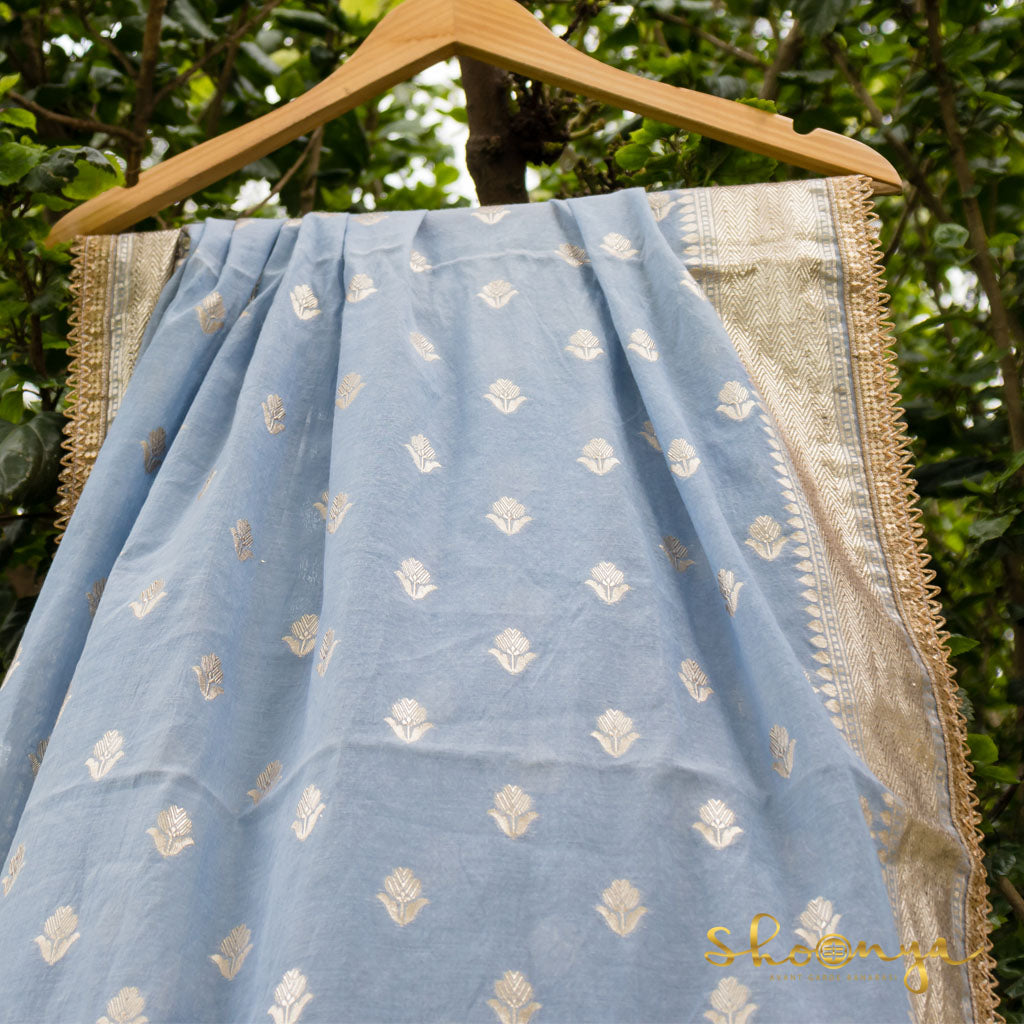 Baby Blue Pure Chanderi Silk Silver Zari Dupatta With Border Details - shoonya banaras