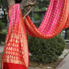 Two-Tone Red & Fuschia Pink Pure Georgette Bhuj Bandhej Banarasi Saree in Chowkdi Weaves - shoonya banaras