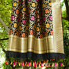 Black Meenakari Banarasi Silk Dupatta With Zari Border