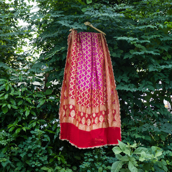 Two-Tone Purple & Red Pure Georgette Bandhej Banarasi Dupatta With Scallop Border - shoonya banaras