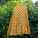 Mustard Brocade Banarasi Silk Skirt With Leather Applique Handwork - shoonya banaras