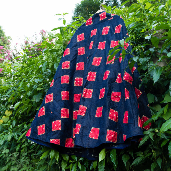 Navy Blue Skirt With Red Square Applique Work Skirt - shoonya banaras