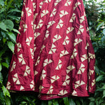 Maroon Red Petal Handwork Banarasi Applique Silk Skirt - shoonya banaras