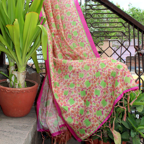 Beige Chanderi Dupatta With Lotus Prints - shoonya banaras