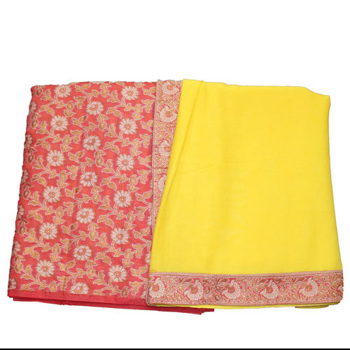 Orange Peach & Yellow Cotton Silk Suit Dress Material - shoonya banaras