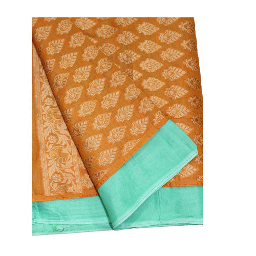Orange & Aqua Blue Colour Cotton Silk Suit Dress Material - shoonya banaras