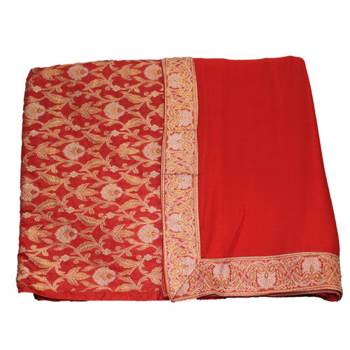 Beautiful Red Color Cotton Silk Suit Dress Material - shoonya banaras