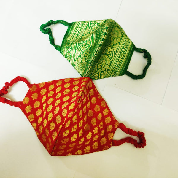 Face Masks Green & Red Brocade Banarasi