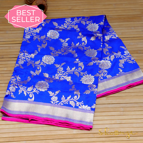 Royal Blue Pure Katan Silk Handloom Banarasi Dupatta In Dual Zari Jaal