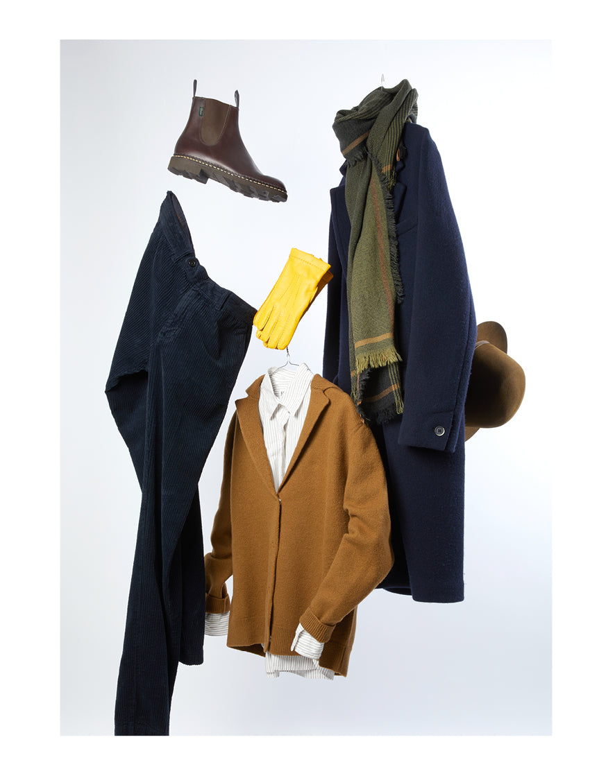 Barena Zimara Formentera Wool Overcoat in Navy Barena Orada Feltro Cardigan in Camel MHL OFFSET PLACKET SHIRT WORKWEAR - COTTON TWILL INK Massimo Alba Winch2 Wide Wale Cord Trousers in Dark Blue Begg & Co Kishorn Matlock Cashmere Scarf in Green/Camel Paraboot Manege Jodhpur Boot in Marron Lock & Co Voyager Rollable Trilby in Cork Merola Yellow Nappa Leather Gloves