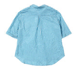 Apuntob Women's Silk Gingham Shirt in Blue