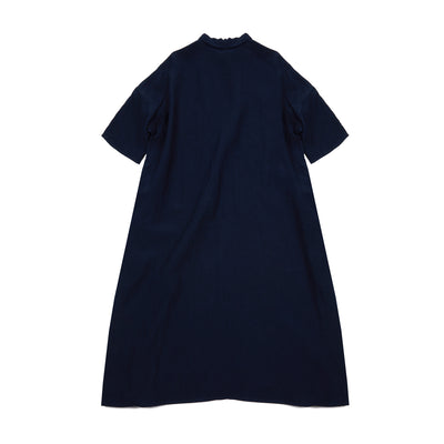 Apuntob One Pocket Collar Linen Dress in Blue