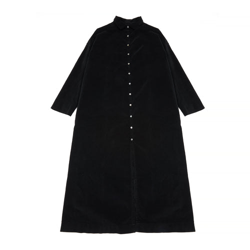 Album Di Famiglia Velvet Long Collar Dress in Black