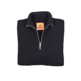 Andersen-Andersen Zip Neck Navy Sweater in Navy