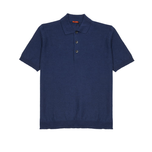 Barena Marco Linen Polo Shirt in Navy