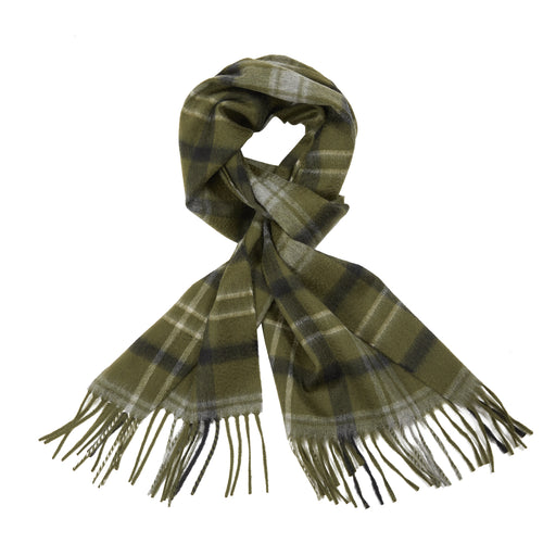 Begg & Co Arran Minton Cashmere Scarf in Army/Grey