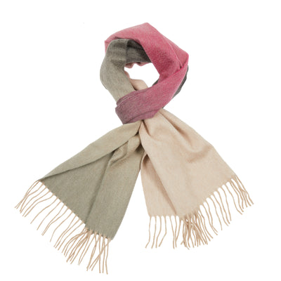 Begg & Co Arran Ombre Cashmere Scarf in Raspberry/Thistle