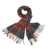 Begg & Co Jura Lambswool/Angora scarf in Dark Grey/Rust Stuart Plaid