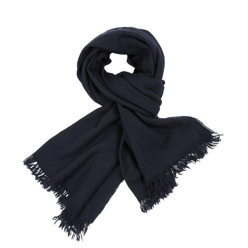 Begg & Co Kishorn Washed Cashmere Scarf in Navy