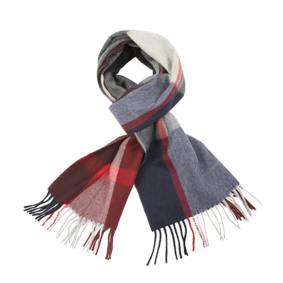 Begg & Co Sitwell Lambswool/Cashmere Scarf in Burgundy/Red