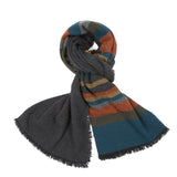 Begg & Co Beaufort Lambswool/Cashmere Scarf in Skiba Black Teal