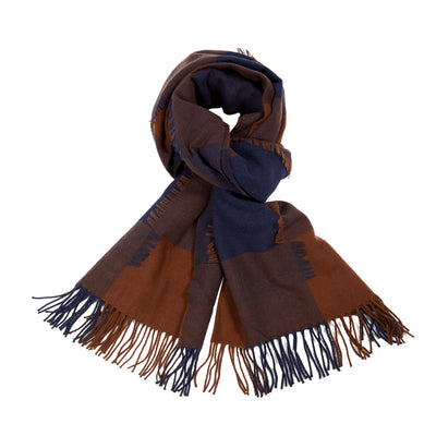 Begg & Co Iggy Lambswool/Cashmere Scarf in Navy/Chocolate