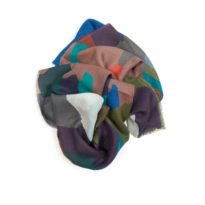Begg & Co Wispy Painted Camo Scarf in Khaki / Clay